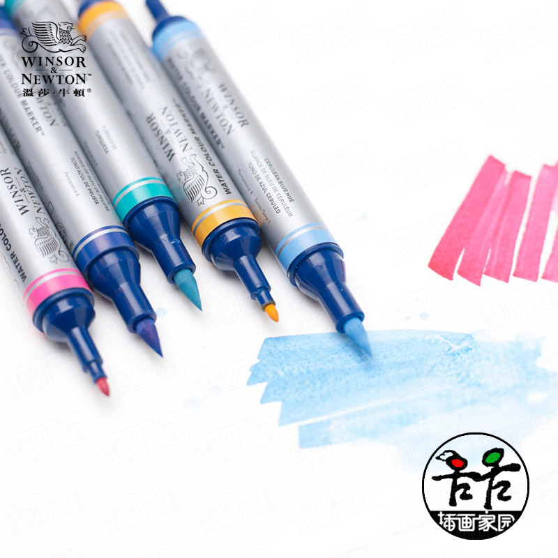 ФОТО Windsor & Newton water colour marker water soluble pen 6/12 colours iron box set double-side (soft and fine) art drawing pen