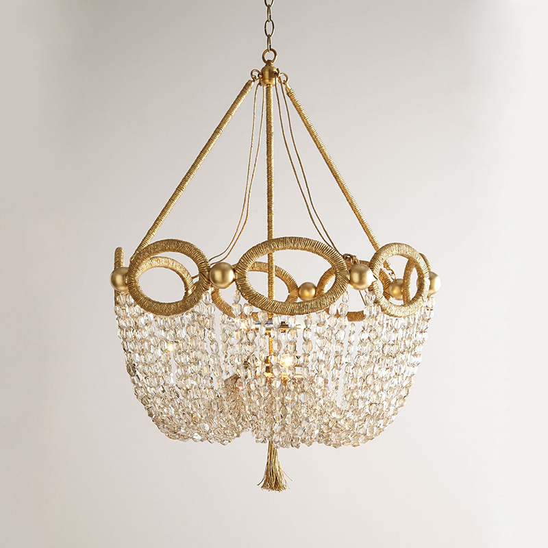 Gold And Crystal Chandelier Light Hemp Rope Beaded Hanging Kitchen Fixtures Russia D55 H88cm 4 Candle Lights