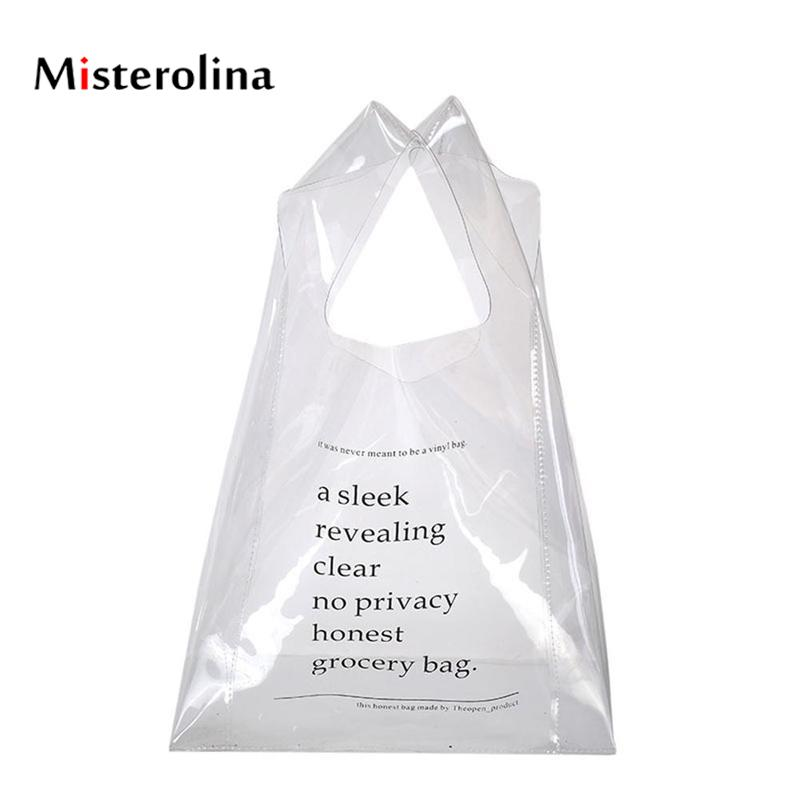 Misterolina Pvc Women Shopping Bags Fashion Shopper Clear Bag High Quality Wide Shoulder Straps Girl Handbags For Shop Sac Cabas