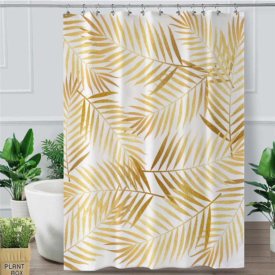 Golden Leaf Shower Curtain Tropical Botanic Waterproof Bathroom Curtain With Hooks Modern Palm Leaves Douche Gordijn Shower Curtains Aliexpress Décor your bathroom with this fine tropical theme to enhance appearance and add peacefulness vibes. us 14 83 42 off golden leaf shower curtain tropical botanic waterproof bathroom curtain with hooks modern palm leaves douche gordijn shower