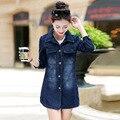 La nueva primavera y el verano 2016 de Corea mujeres abrigo vaquero delgado en la chaqueta vaquera de manga larga