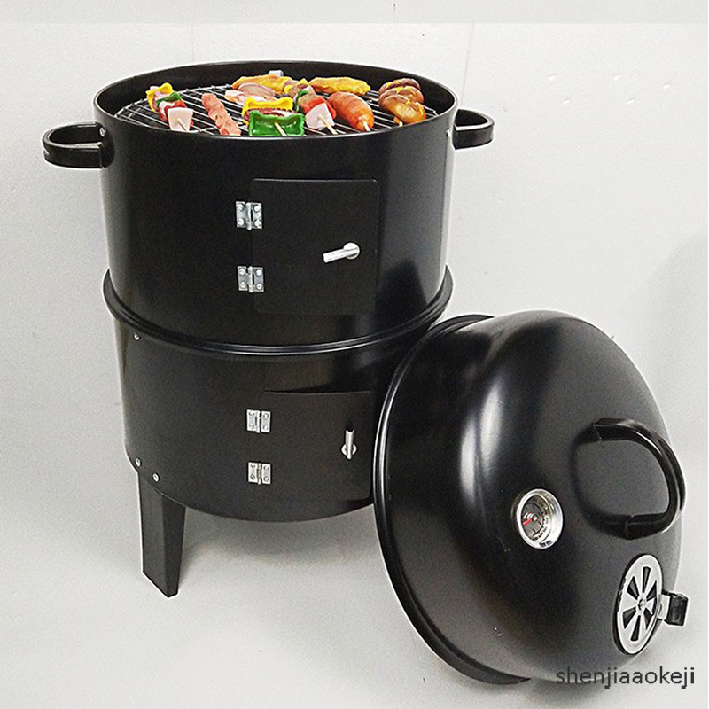 New Metal 3 In 1 BBQ Grill Roaster Household Barbecue Grill Portable Outdoor Charcoal Grill Stove For Camping/courtyard DS-13