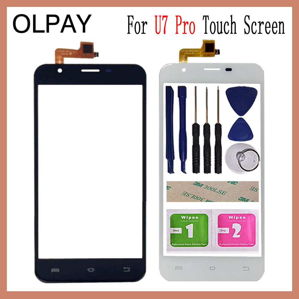 OLPAY 5.5 Inch For Oukitel U7 Pro Touch Screen Digitizer Panel Front Outer Front Glass Lens Sensor Free Adhesive+Wipes