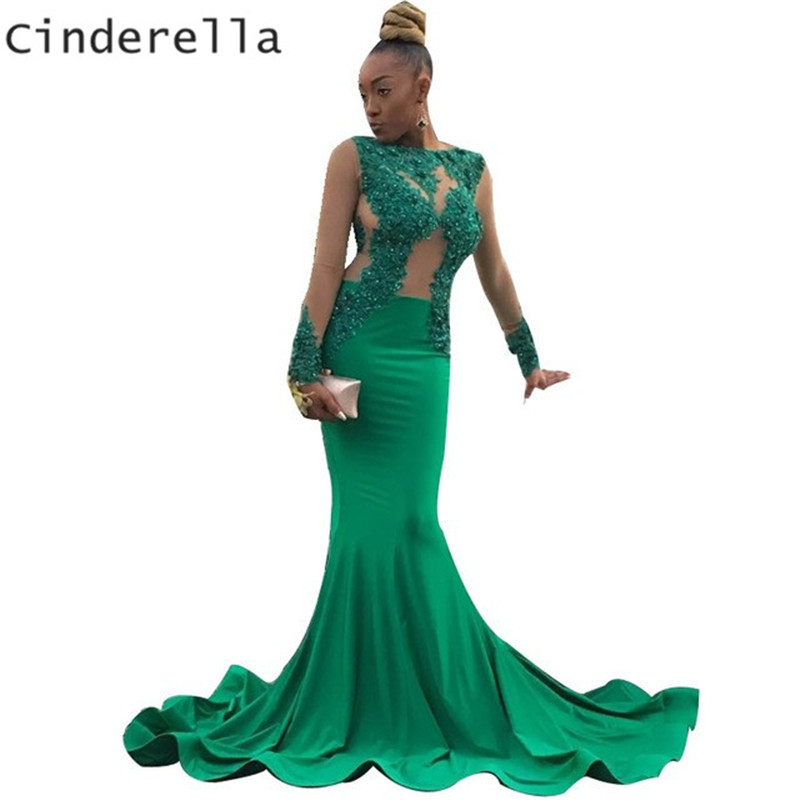 Cinderella Green Scoop Long Sleeves Mermaid Long Train Lace Applique Crystal Beaded Satin Pleated   Prom     Dresses     Prom   Party Gowns