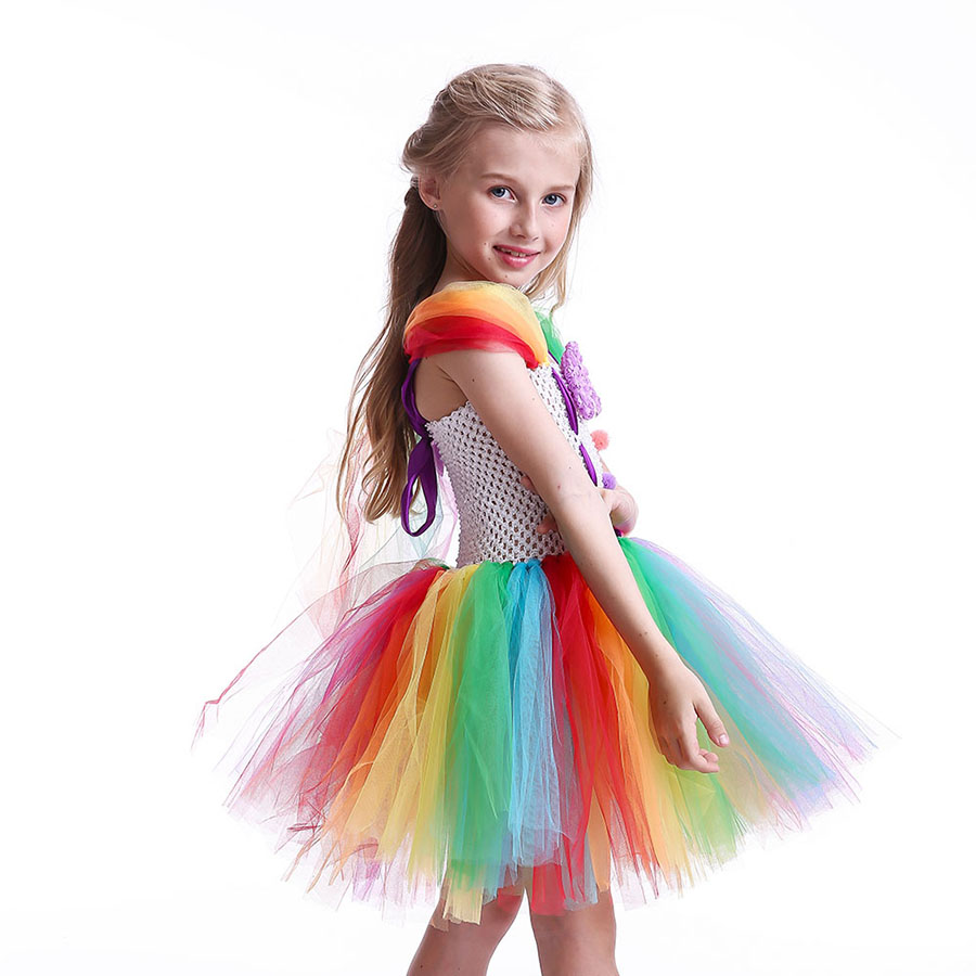 Girls Circus Fancy Clown Tutu Dress with Bow Children Handmade Rainbow Tulle (5)