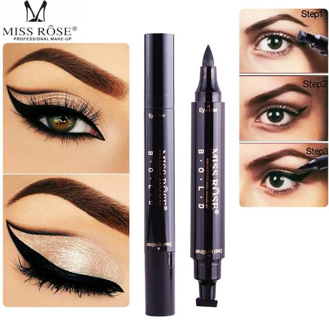 Dual End Black Liquid Eyeliner Stamps Pencil Pro Waterproof Long