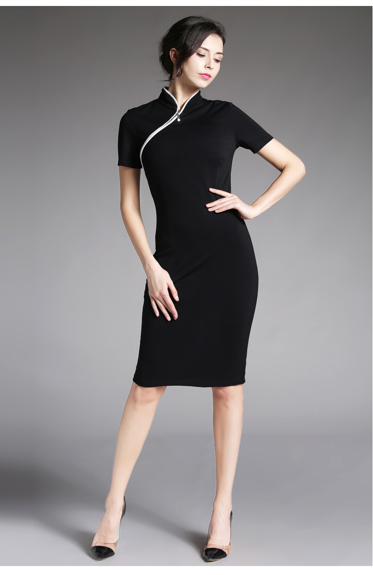US $21.9 47% OFF|Women Formal Elegant Stand Collar Rockabilly Pinup Plus  size Short Sleeve Vintage Bodycon Business Work Dress Chinese Style-in ...