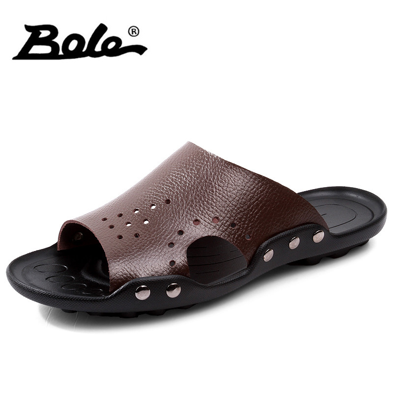 BOLE Large Size 35-47 Genuine Leather Summer Men Slippers Fashion Rubber Sole Non-slip Casual Shoes Men Flat Shoes 3colors
