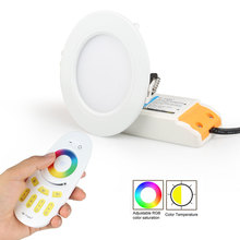 ZINUO Mi Light RGB+CCT Dimmable 2.4G LED Downlight Round Panel Ceiling Lamp Aluminum 6W AC86~265V RGBW LED Recessed Downlight mi light led lamp 12w rgb cct led bulbs light wifi 2 4g rf wireless dimmable e27 ac86 265v spotlight indoor decoration