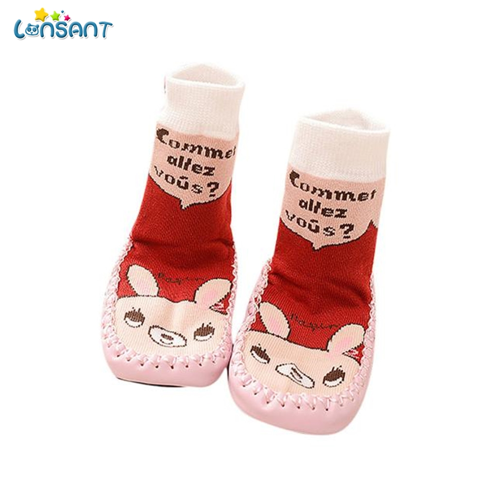 LONSANT Cartoon Kids Toddler Baby Anti-slip Sock Shoes Boots Slipper Socks First Walkers ...