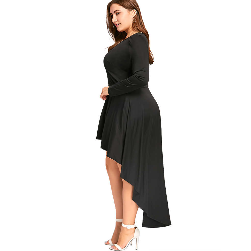 c424c74b666d7 ... Gamiss Casual Plus Size V Neck Formal Dress High Low Hem Long Sleeve  Maxi Dress Fashion ...
