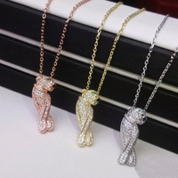 Women brand Fashion necklaces Pendants Panther Copper Rose Gold Zircon CZ Necklace gold color animal famous Jewelry