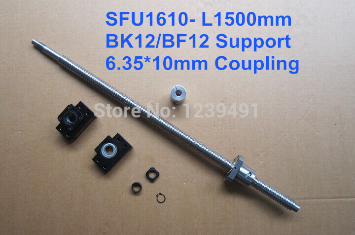 ballscrew 1610 assembly 1set 1610 - 1500mm + METAL DEFLECTOR Ballnut + BK12 BF12 support + shaft coupling