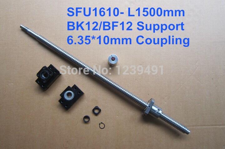 ballscrew 1610 assembly 1set 1610 - 1500mm + METAL DEFLECTOR Ballnut + BK12 BF12 support + shaft coupling rolled c7 ballscrew 1605 700mm ballscrew with metal deflector ballnut bk12 bf12 support coupler