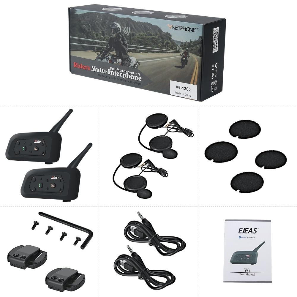 купить 2 pcs V6 Helmet Intercom 6 Riders 1200M Motorcycle Bluetooth Intercom Headset walkie talkie Helmet BT Interphone по цене 5868.86 рублей
