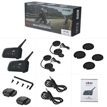 2 pcs V6 6 Pilotos Capacete Interfone 1200 m Capacete Da Motocicleta Bluetooth Headset Intercom walkie talkie BT Interfone