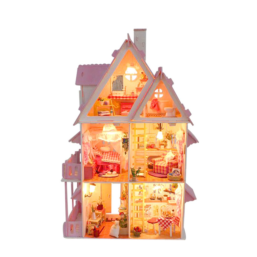 DIY 3D Wooden Beautiful Dollhouse Miniature Doll House My Little House Model Building Kits Furniture Toys Kids Birthday Gifts starz 3d wooden villa house puzzles toys static model wood craft building kits children gifts for kids