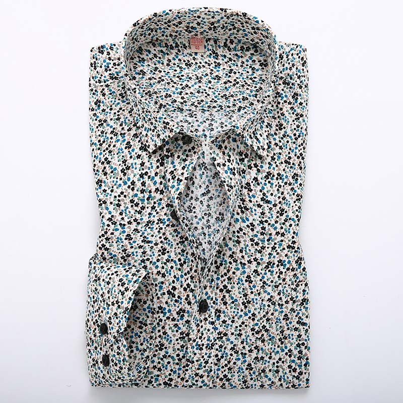 New 2016 Spring Mens Casual Floral Shirts Long Sleeve 100