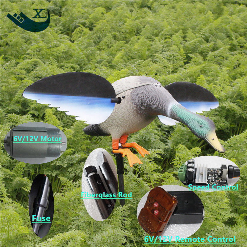 ФОТО Wholesale Outdoor Hunting Plastic Duck Decoy 6V 12V Remote Control Hunting Motorized Duck Decoy With Spinning Wings From Xile