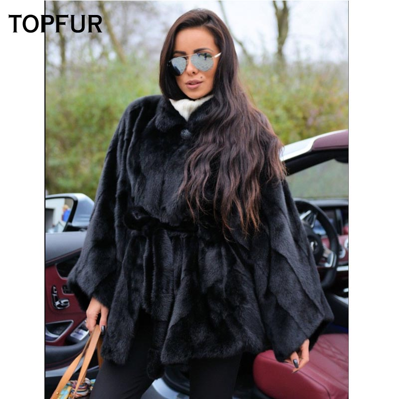 TOPFUR 2019 New Bat Type Real Mink Fur Coat Women 75 Cm Long Black Mink Fur Coats Lapel With Belt Whole Skin Fur Outwear New