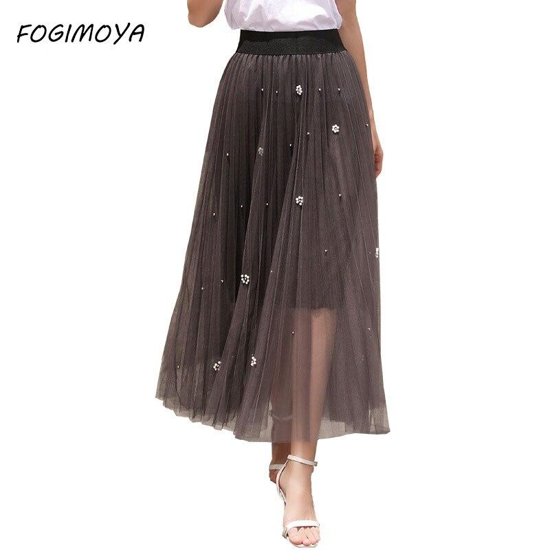 FOGIMOYA 2018 Mesh Skirt Women Summer Mesh Beading Patchwork Ankle Length Skirts Women's Skirt Wild Waist A Line Skirts New