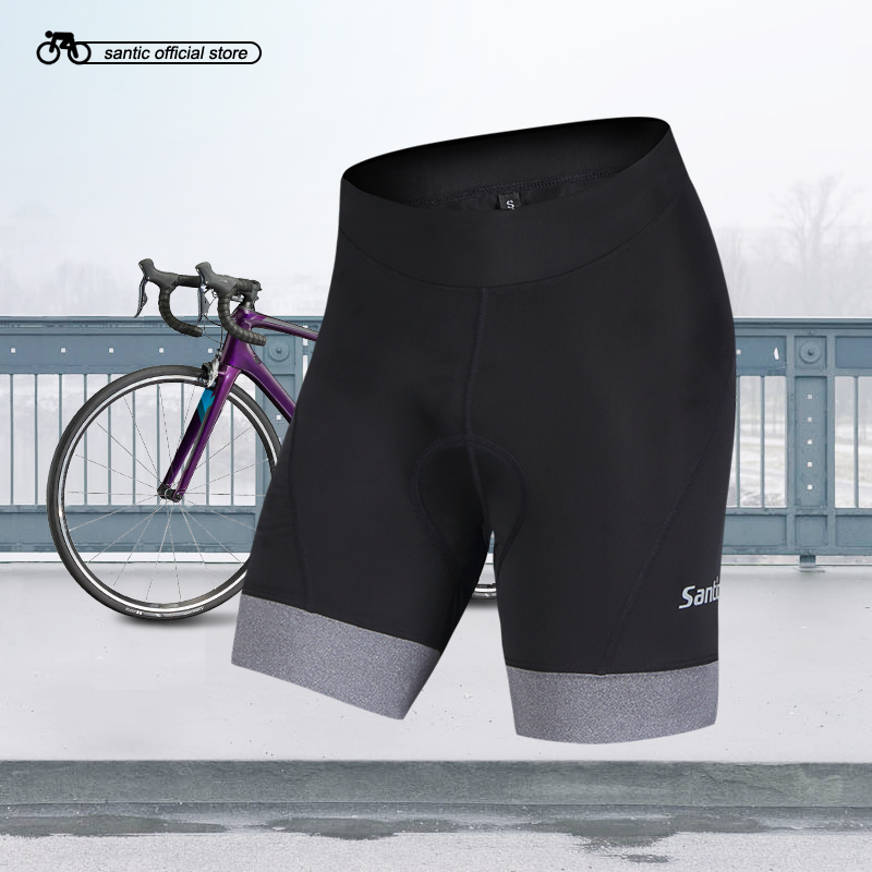 Santic Women Cycling Shorts Coolmax 4D Padded Shorts Reflective ciclismo Anti-sweat drawstring plus size sweat shorts