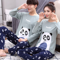Cotton Spring Women Pajama Set Printing Panda Cartoon Sleepwear Long Sleeve Couple Lover Pullover Casual Female Loose Pajamas