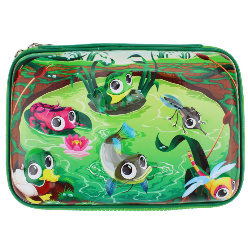 3D Cartoon frog eva pen box student pencil case school supplies stationery boys and girls big Stationery bag