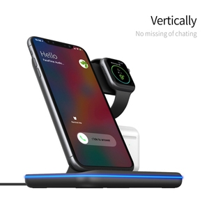 Image 3 - 3in1 15W Qi Wireless Fast Charger For Iphone X/Xiaomi/Huawei Phone Vertical Charger Dock Station For Apple Airpods Watch 4 3 2 1