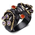Dc1989 mujeres lindo anillos de amatista y orange cubic zirconia ajuste del bisel de oro y negro plateado