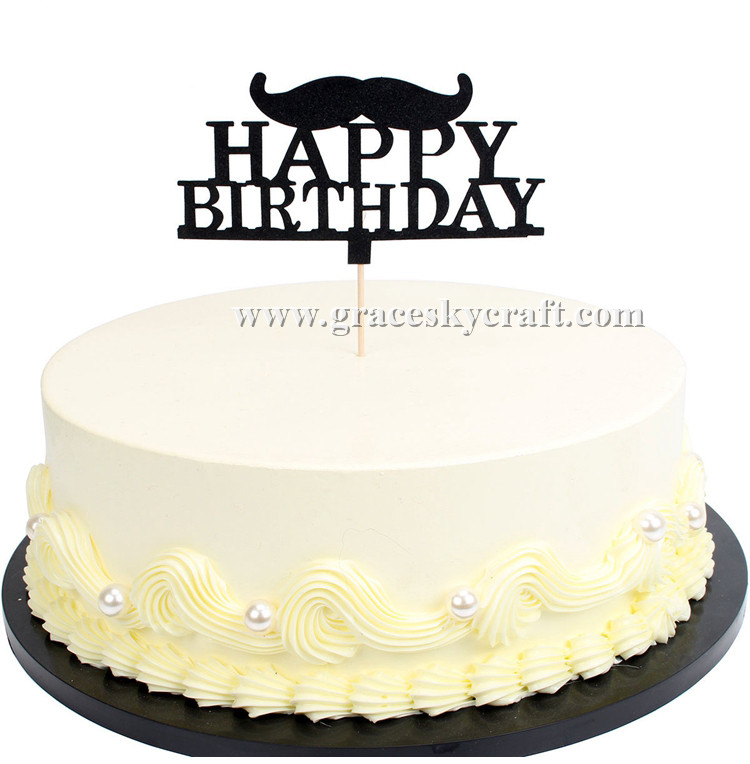 Sensational 12Pcs Free Shipping Glitter Paper Birthday Cakes Toppers Mustache Personalised Birthday Cards Veneteletsinfo