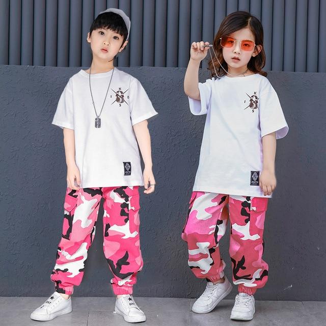 子供大人春夏子供服セットポケット衣装ピンクグリーン迷彩ヒップホップダンスパンツ