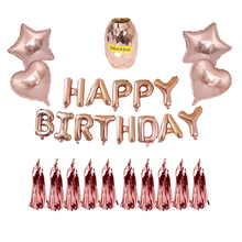 Happy Birthday Ballon Lettre and 18 Inch Rose Gold Aluminum Membrane Balloon Set  Party Decorations Kids
