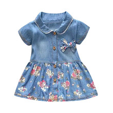 Fashion Girls  Floral Print Bowknot Short Sleeve Princess Denim Dress Outfit  sep26
