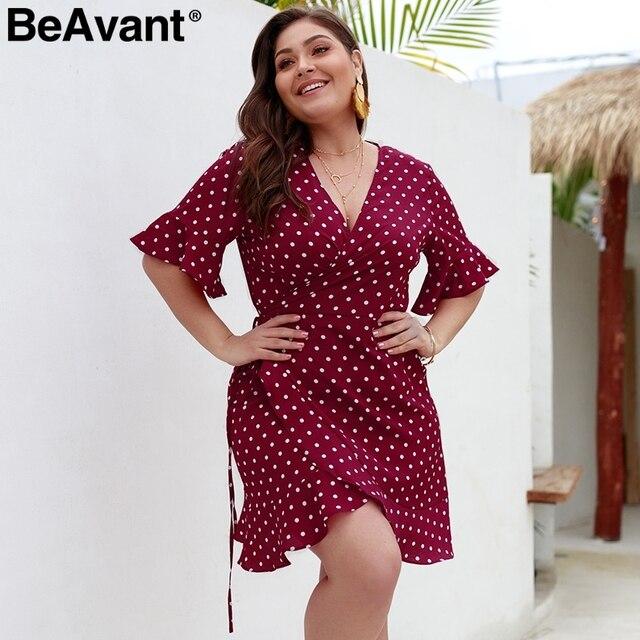 BeAvant Polka dot casual women dress plus size V neck sashes summer dresses 2019 Elegant flare sleeve mini short dress vestidos