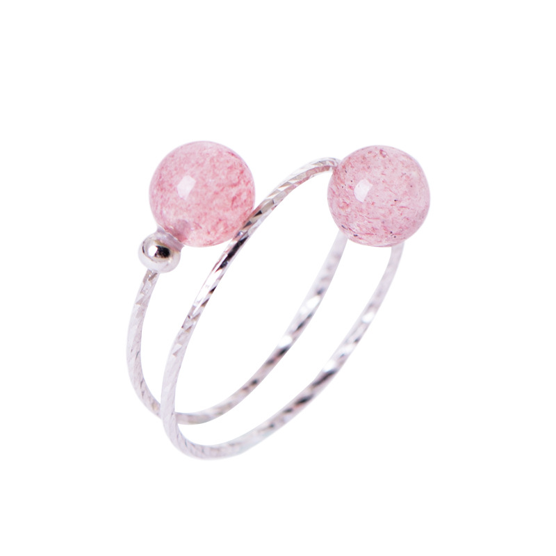 LouLeur 925 Sterling Silver Strawberry Quartz Rings Pink Fashion Cute Double Layer Adjustable Rings For Women Fine Jewelry Gift