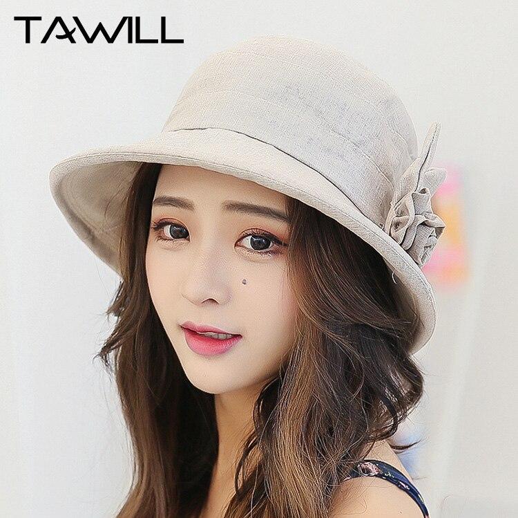 Women Bucket Hats Solid Cotton Blend Dome Wide Brim Summer Ladies Church Hat Sombrero Chapeau Femme Beach Seaside Cotton Fashion