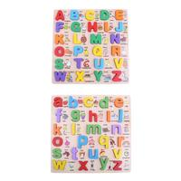 Wooden Alphabet English Letters Jigsaw Puzzle Children Kids Educational Toy Letter Geometry Arabic Numerals Transportation Toys
