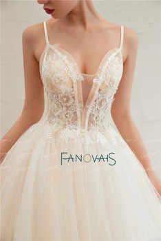 Elegant Wedding Dresses 2019 Straps V Neck Applique Beaded Wedding Gown Princess Ball Gown Bridal Dress Vestidos de Festa SW6