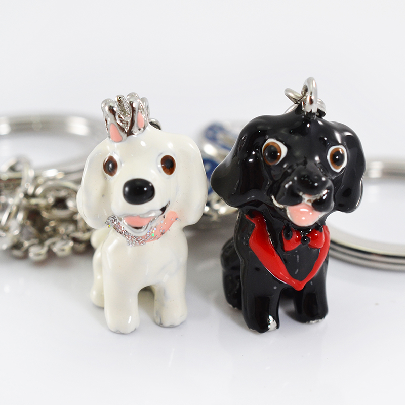 3D Dog Anime Keychains Brands Woman Cartoon Keychains Keys To Metal Key Holder Cute Pet Key Chain Women Key Ring Holder