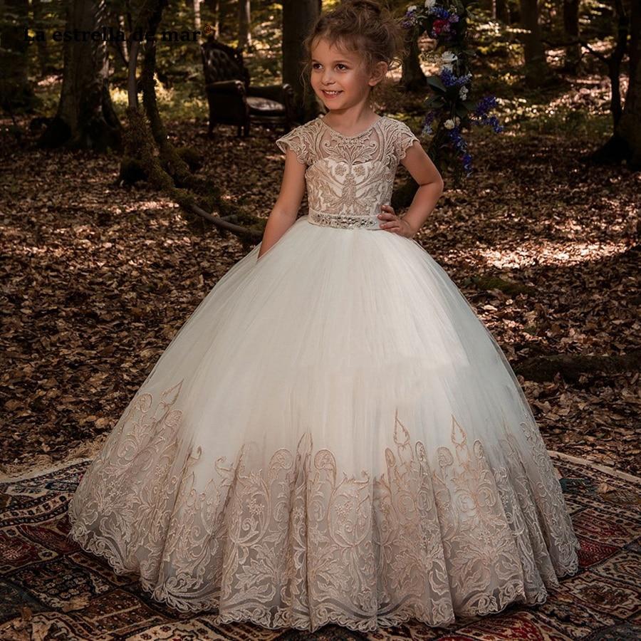 La estrella de mar custom high neck lace crystal lace short sleeve fluffy white ivory   flower     girl     dresses   long vestido daminha