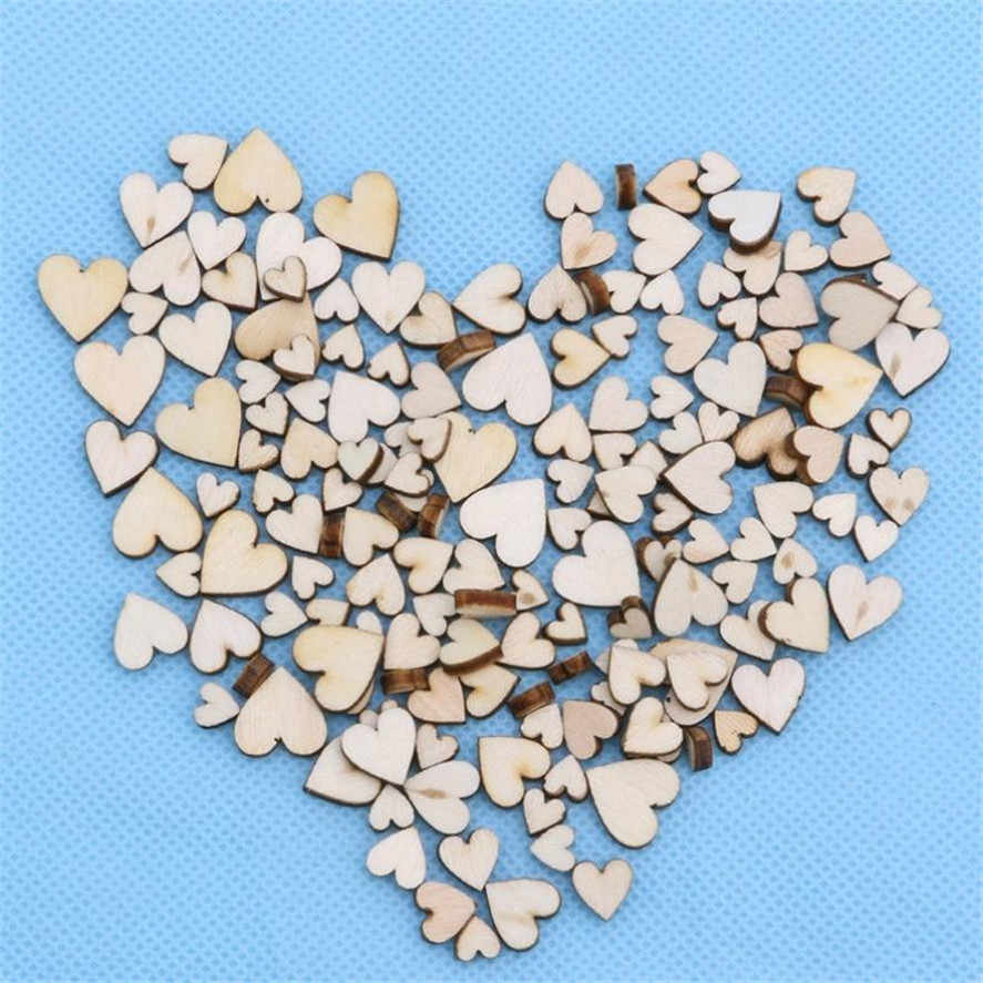 New 100pcs Creative Rustic Wood Wooden Love Heart Wedding Table Scatter Decoration Crafts DIY Party Decoration  Best Gift C30423