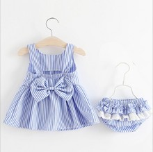 Baby Girl Summer Clothes Fashion Korean Striped With Bowknot Dress + Briefs 2PCS Outfits Kids Bebes Jogging Suits Tracksuits