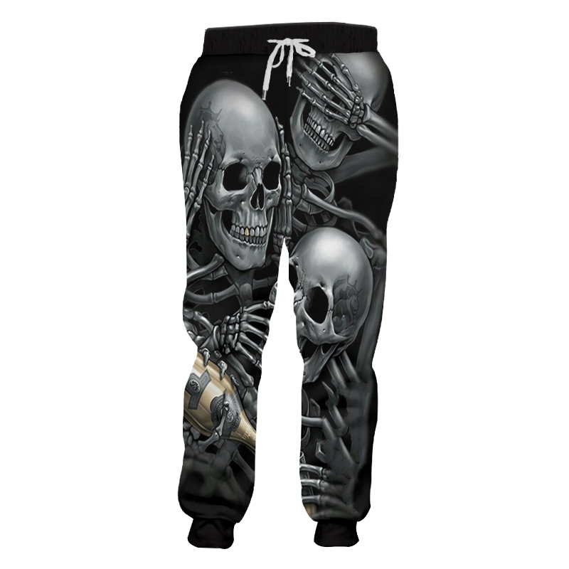 UJWI Men Sweat Pants Cool Print Skeleton Skull Champagne 3D Harem Joggers Pants Hombre Elastic Waist Full Length Sweatpants 5XL in Sweatpants from Men 39 s Clothing