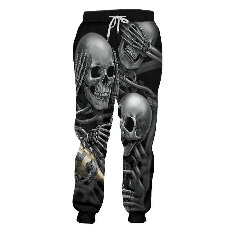 UJWI męskie spodnie dresowe fajny nadruk szkielet czaszka szampan 3D Harem spodnie joggery Hombre w pasie pełnej długości spodnie dresowe 5XL