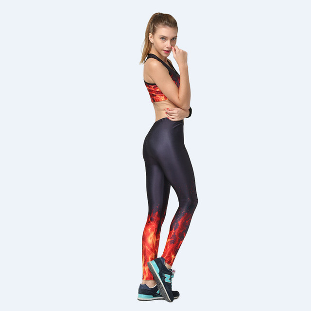 a4efb1fa17 US $10.99 |Sexy 3D Digital Print Fire Flame Leggings & Vest Bra Set Women  Fitness Elastic Pants Ropa Mujer Sleeveless Top-in Women's Sets from  Women's ...