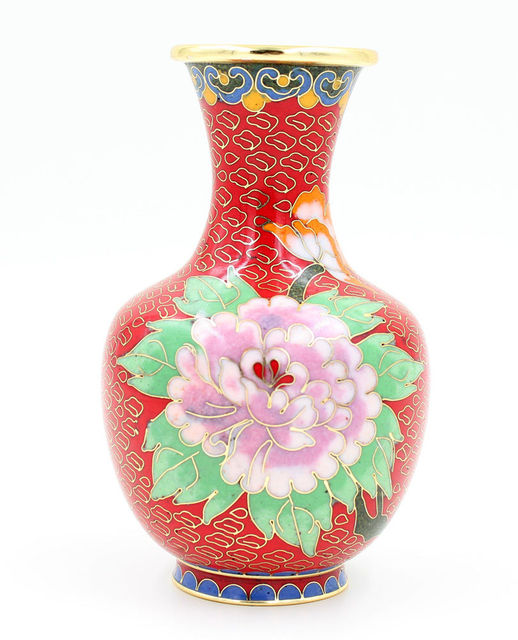 New 6 Chinese Handmade Flowers Cloisonne Copper Decoration Vase