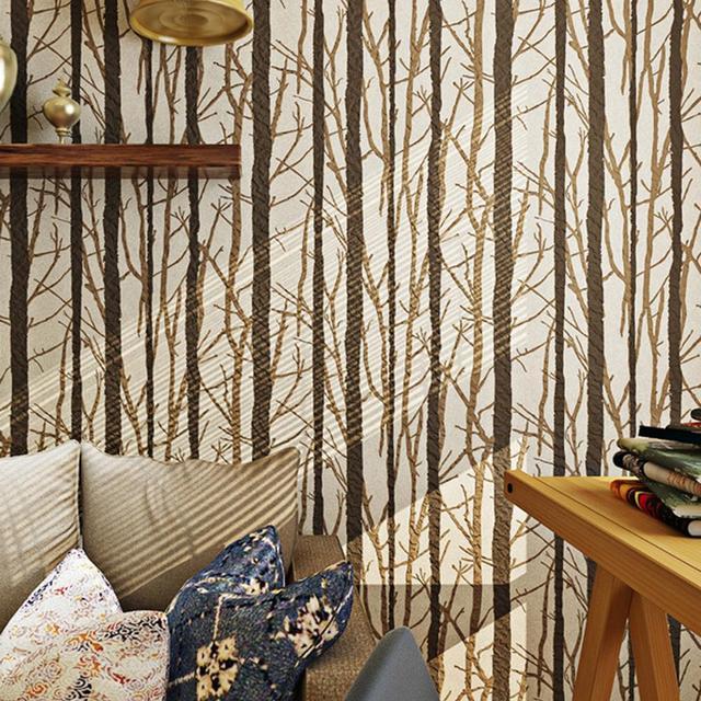 Schwarz grau birke tapete 3d f r schlafzimmer wald woods for Tapete wald