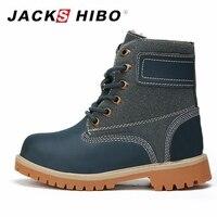 JACKSHIBO Kid Snow Martin Boot Genuine Leather Winter Shoes For Boys Girls Warm Plush Child Boots