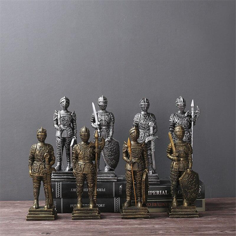 Vintage soldat romain Sculpture Figure mythologique grecque rétro décoratif Statue médiévale armure dieu Statue résine poupée décor R03